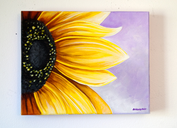 Easy sunflower paintings the image kid for How to paint sunflowers in acrylic
