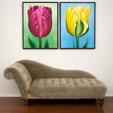 Unwavering Tulips, original paintings by Erica Eriksdotter, with chase