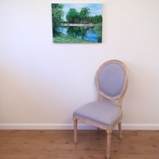 Evans Farm, original acrylic by Erica Eriksdotter, with chair
